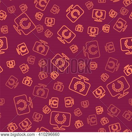 Brown Line Laurel Wreath Icon Isolated Seamless Pattern On Red Background. Triumph Symbol. Vector
