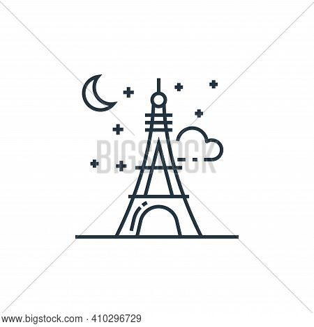 eiffel tower icon isolated on white background from tourism collection. eiffel tower icon thin line