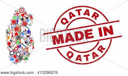 Service Qatar Map Mosaic And Made In Distress Rubber Stamp. Qatar Map Abstraction Designed With Wren