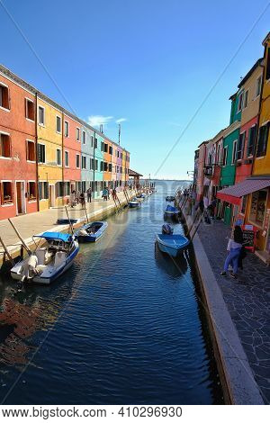 Murano, Italy - April 27, 2019 : The Multi Coloured Houses Of Burano Island In Italy