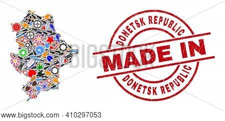 Science Donetsk Republic Map Mosaic And Made In Textured Stamp Seal. Donetsk Republic Map Compositio