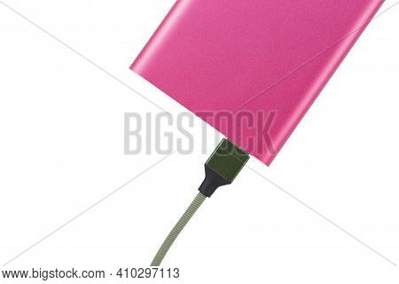 Power Bank For Charging Mobile Devices. Pink Smart Phone Charger With Power Bank. Battery Bank. Exte