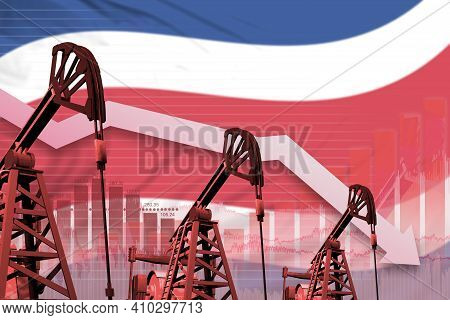 Costa Rica Oil Industry Concept, Industrial Illustration - Lowering Down Chart On Costa Rica Flag Ba
