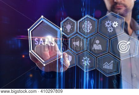 Software As A Service Saas. Software Concept. Business, Modern Technology, Internet And Networking C