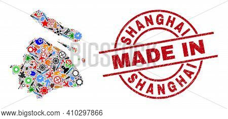 Production Shanghai City Map Mosaic And Made In Scratched Stamp Seal. Shanghai City Map Collage Crea