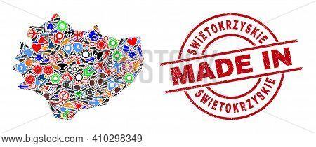 Component Swietokrzyskie Voivodeship Map Mosaic And Made In Grunge Rubber Stamp. Swietokrzyskie Voiv