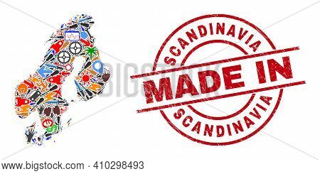 Science Scandinavia Map Mosaic And Made In Distress Stamp Seal. Scandinavia Map Mosaic Designed With