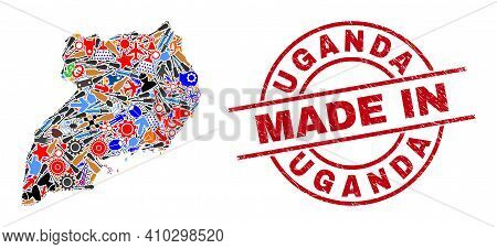 Development Mosaic Uganda Map And Made In Grunge Rubber Stamp. Uganda Map Mosaic Composed With Spann