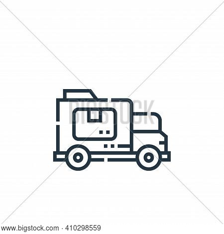 delivery car icon isolated on white background from delivery collection. delivery car icon thin line