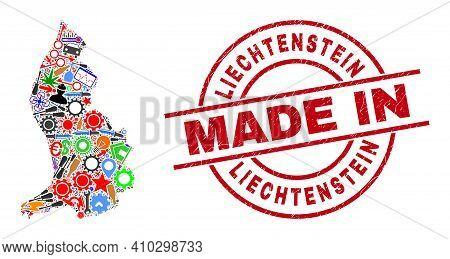 Technical Liechtenstein Map Mosaic And Made In Distress Rubber Stamp. Liechtenstein Map Collage Comp