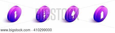 Set Isometric Dildo Vibrator, Anal Beads, Anal Plug And Condom Icon. Vector