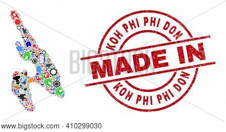 Engineering Mosaic Koh Phi Don Map And Made In Distress Rubber Stamp. Koh Phi Don Map Composition Co