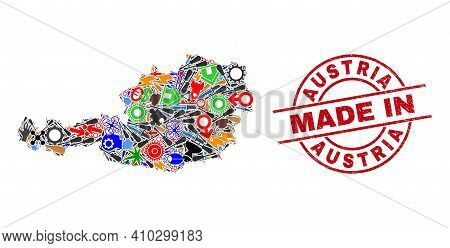 Development Austria Map Mosaic And Made In Grunge Stamp. Austria Map Collage Designed With Wrenches,