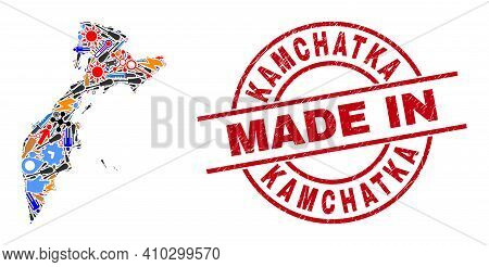 Production Kamchatka Map Mosaic And Made In Textured Stamp. Kamchatka Map Mosaic Created With Wrench