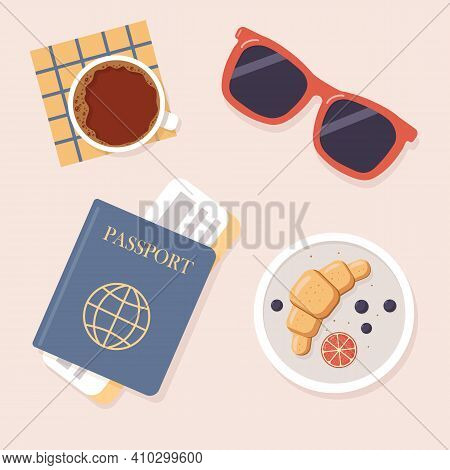 Airport. Top View Of Table In Airport Cafe. Passport With Ticket, Sunglasses, Cup Of Coffee, Croissa