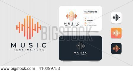 Modern Music Logo And Business Card Design Vector Template. Logo Can Be Used For Icon, Brand, Identi