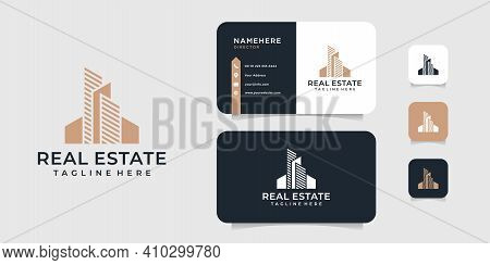 Real Estate Building Logo And Business Card Vector Design Inspiration Template. Logo Can Be Used For