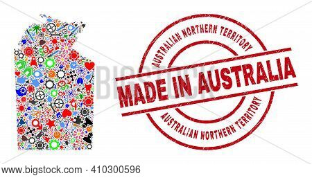 Engineering Mosaic Australian Northern Territory Map And Made In Scratched Rubber Stamp. Australian