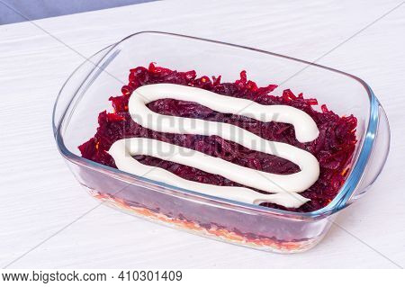 Step By Step Preparation Of Russian Traditional New Year Appetizer  - Herring Under Layers Of Boiled