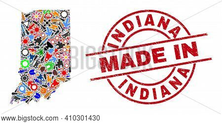Engineering Indiana State Map Mosaic And Made In Distress Rubber Stamp. Indiana State Map Abstractio