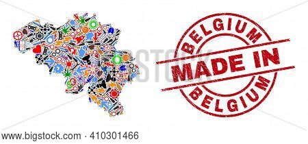 Development Mosaic Belgium Map And Made In Textured Rubber Stamp. Belgium Map Mosaic Composed With W