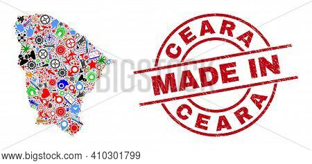 Technical Mosaic Ceara State Map And Made In Grunge Stamp Seal. Ceara State Map Abstraction Created
