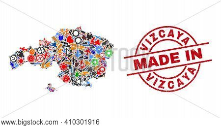 Production Mosaic Vizcaya Province Map And Made In Textured Stamp. Vizcaya Province Map Mosaic Compo