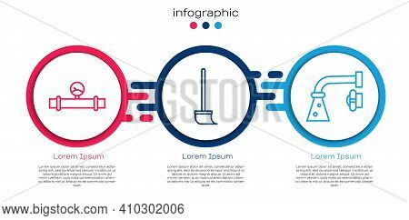 Set Line Industry Pipe And Manometer, Mop And Water Tap. Business Infographic Template. Vector