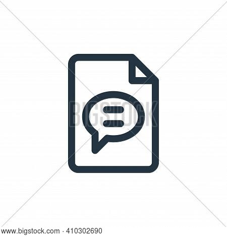 chat icon isolated on white background from document and files collection. chat icon thin line outli