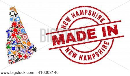 Production New Hampshire State Map Mosaic And Made In Distress Rubber Stamp. New Hampshire State Map