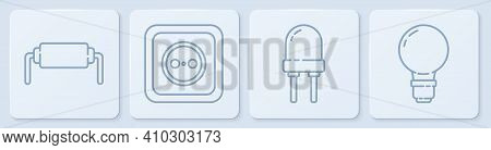 Set Line Resistor Electricity, Light Emitting Diode, Electrical Outlet And Light Bulb With Concept O