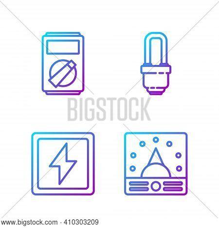 Set Line Ampere Meter, Multimeter, Voltmeter, Lightning Bolt, Multimeter And Led Light Bulb. Gradien