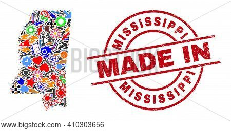 Service Mississippi State Map Mosaic And Made In Scratched Stamp Seal. Mississippi State Map Mosaic