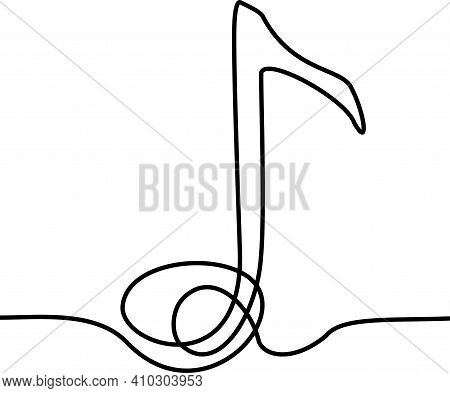 Musical Note Vector Illustration, Single One Continuous Line Art Drawing Style. Minimalism Sign And