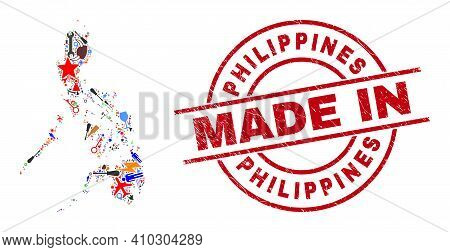 Education Philippines Map Mosaic And Made In Distress Rubber Stamp. Philippines Map Abstraction Form
