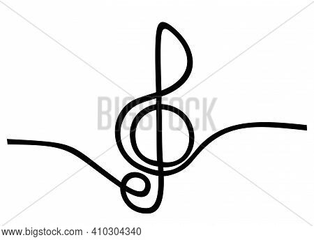 Music Sign Continuous One Line Drawing Of G Key Symbol Minimalist Design. A Treble Clef Is Drawn By