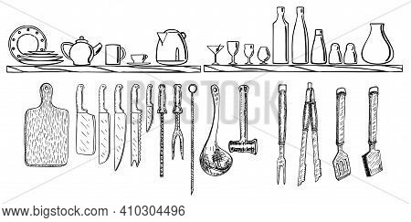 Vector Hand Drawings Crockery And Kitchen Utensils. Kitchen Utensils Set. Hand Drawn Kitchenware And