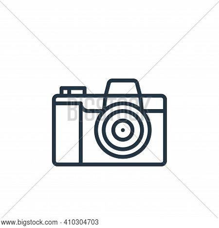 camera icon isolated on white background from graphic design collection. camera icon thin line outli