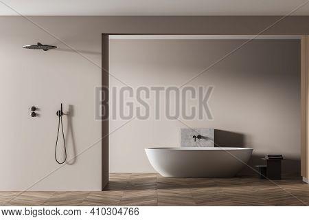 Wooden Bathroom With White Bathtub And Shower On Parquet, Front View. Minimalist Design Of Modern Ha