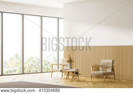 Home Relax Area. A Room Interior With Table A Chair And Books. Mockup White Wall. Work And Read At H