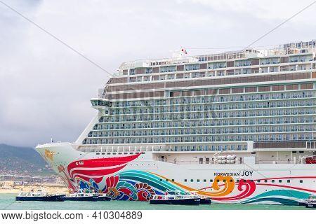 Cabo San Lucas, Mexico - October 13 2019: Norwegian Ncl Joy Cruise Line Ship Docked In Cabo San Luca