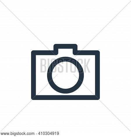 camera icon isolated on white background from multimedia collection. camera icon thin line outline l