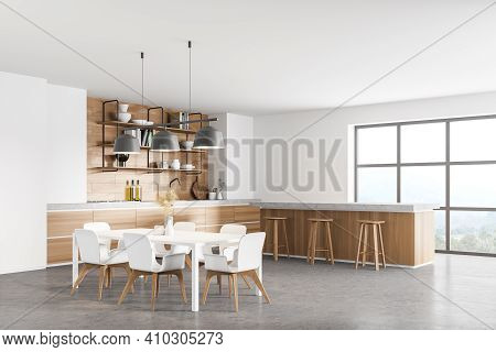 3d Rendering White Modern Kitchen Near Window. Dining Area With Wooden Countertop. Concrete Floor. P