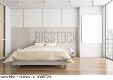 Mockup Canvas Banner In White And Wooden Sleeping Room, Bed On Parquet Floor. Minimalist Design Of B