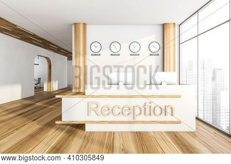 Light Entrance Room On Parquet Floor, Clocks On The Wall. Business Interior With Corridor, Table And