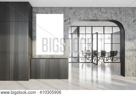 Mockup Empty Wall In Office Hall Arch And Corridor, Grey Marble Room With Black Armchairs And Table.