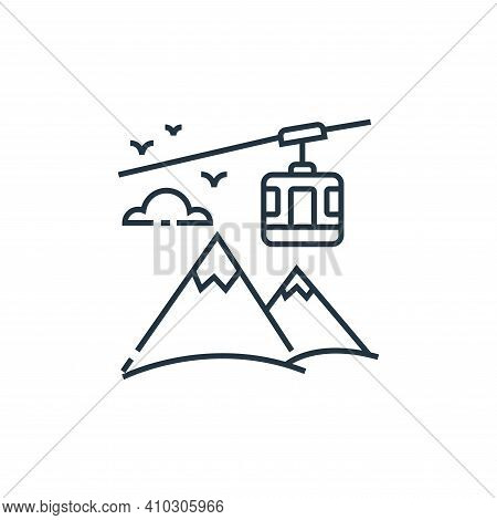 cable car icon isolated on white background from tourism collection. cable car icon thin line outlin