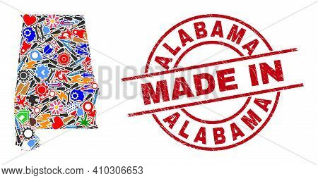 Engineering Mosaic Alabama State Map And Made In Grunge Seal. Alabama State Map Composition Composed