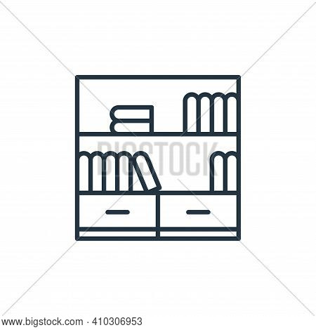 bookshelf icon isolated on white background from education collection. bookshelf icon thin line outl