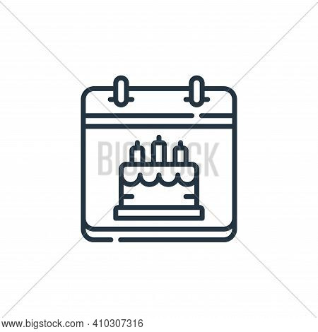 birthday icon isolated on white background from calendar and date collection. birthday icon thin lin